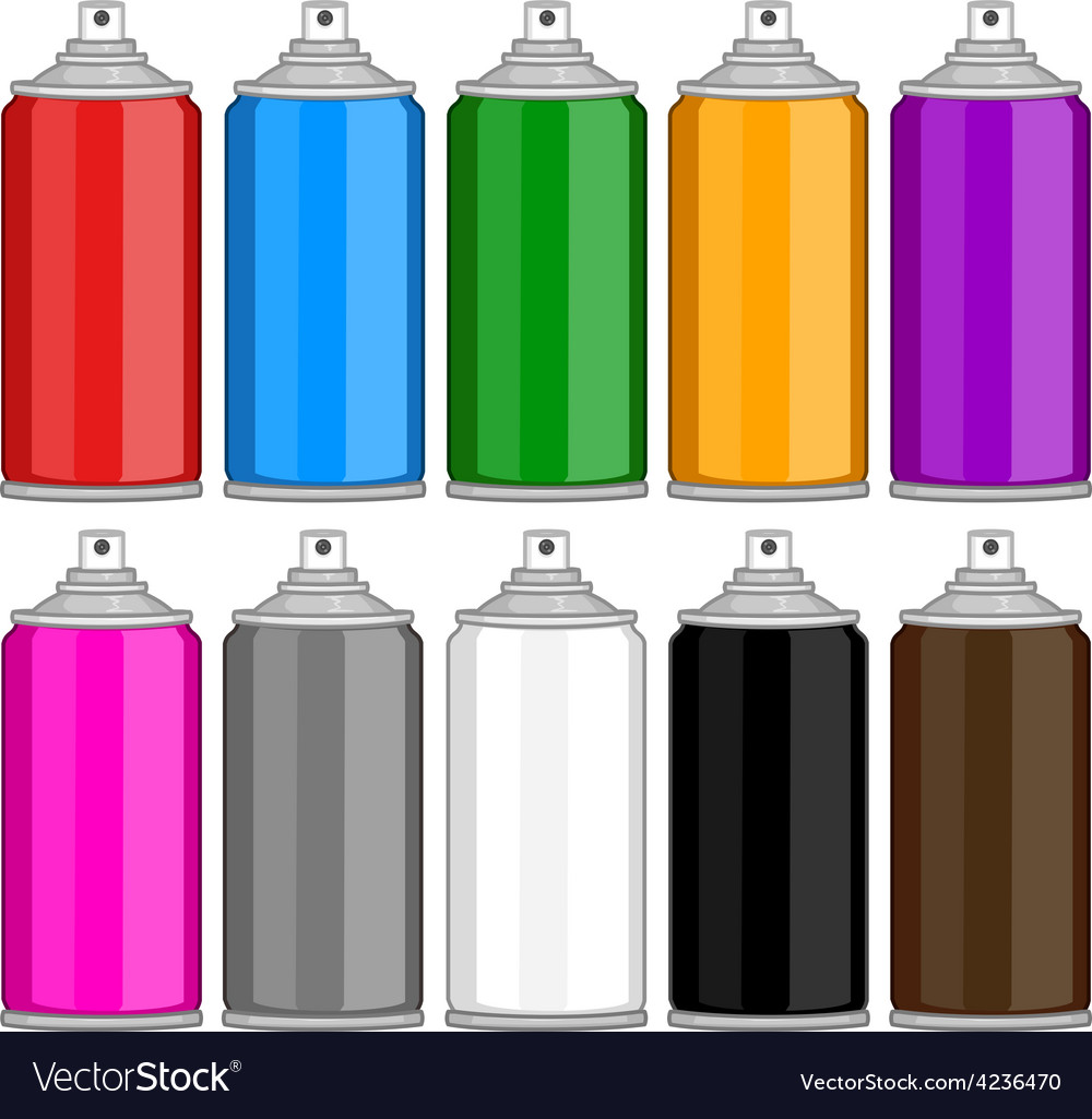 Color spray cans in various colours vector