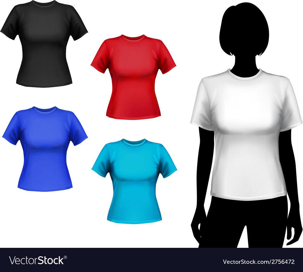 T-shirts female set vector
