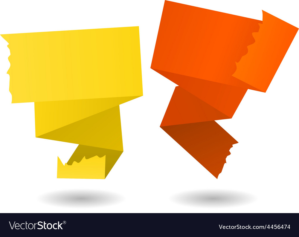 Origami banner-yellow and orange vector