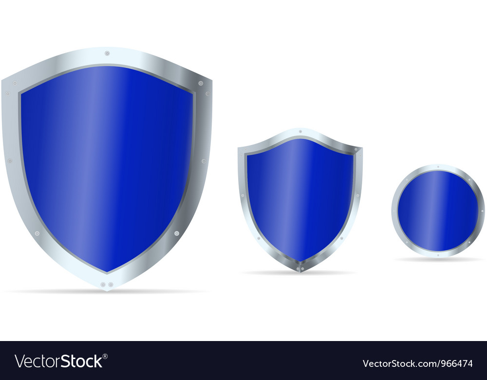 Set of blue glossy steel shields vector
