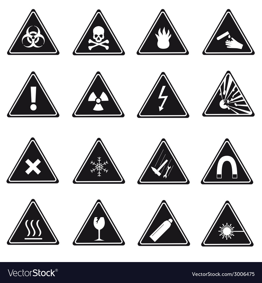 16 danger signs types eps10 vector