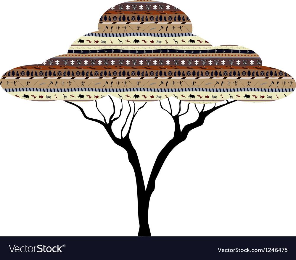 Abstract tree african savanna vector