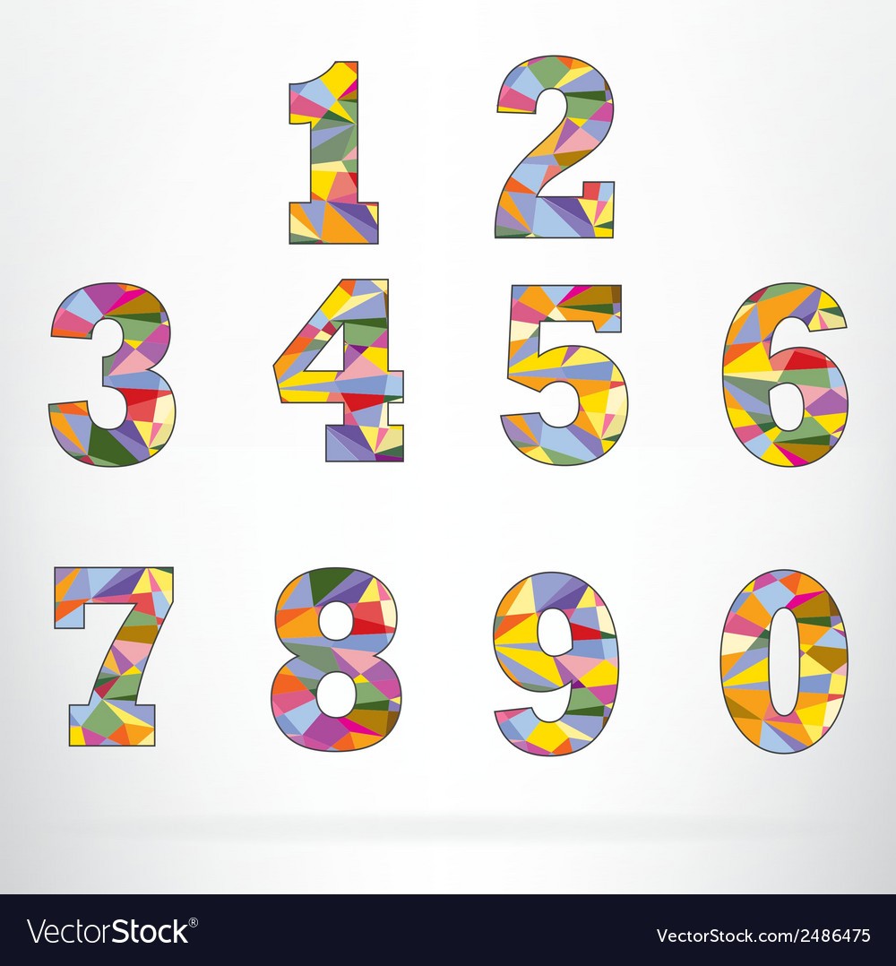 Polygon number alphabet colorful font style vector
