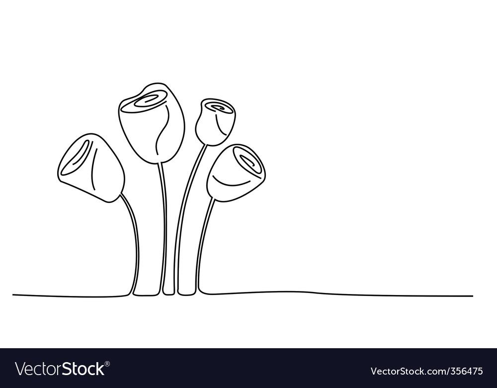 Sketchy rose flowers vector