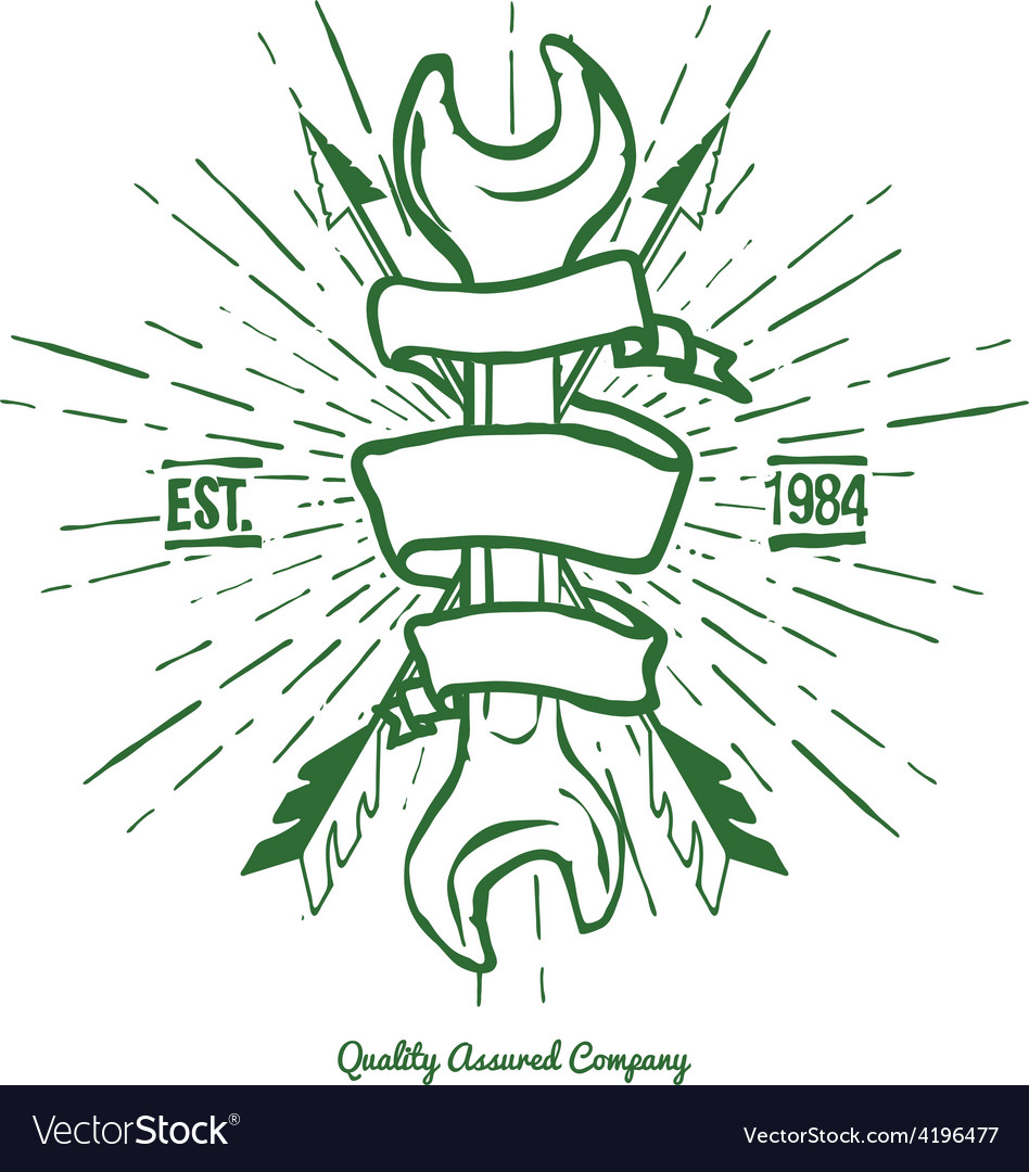 Vintage hipster logo crossed arrows and wrench vector