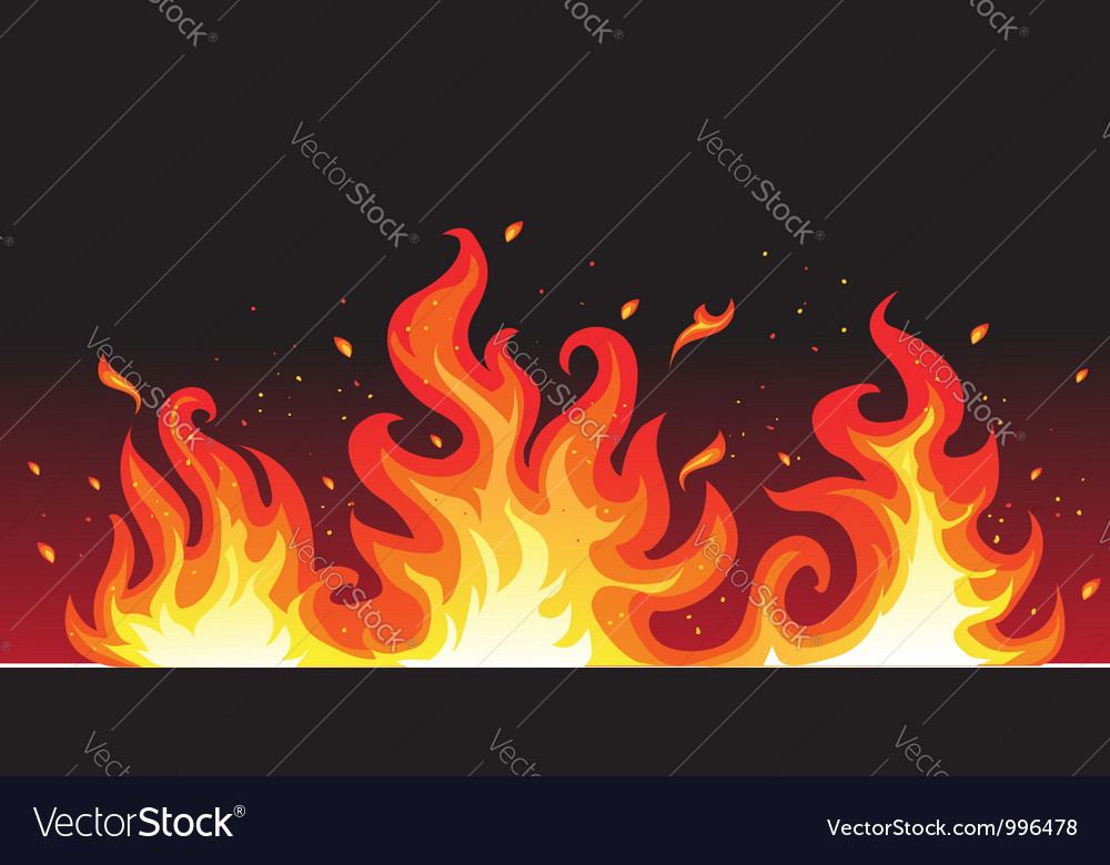 Hot fiery flames background vector
