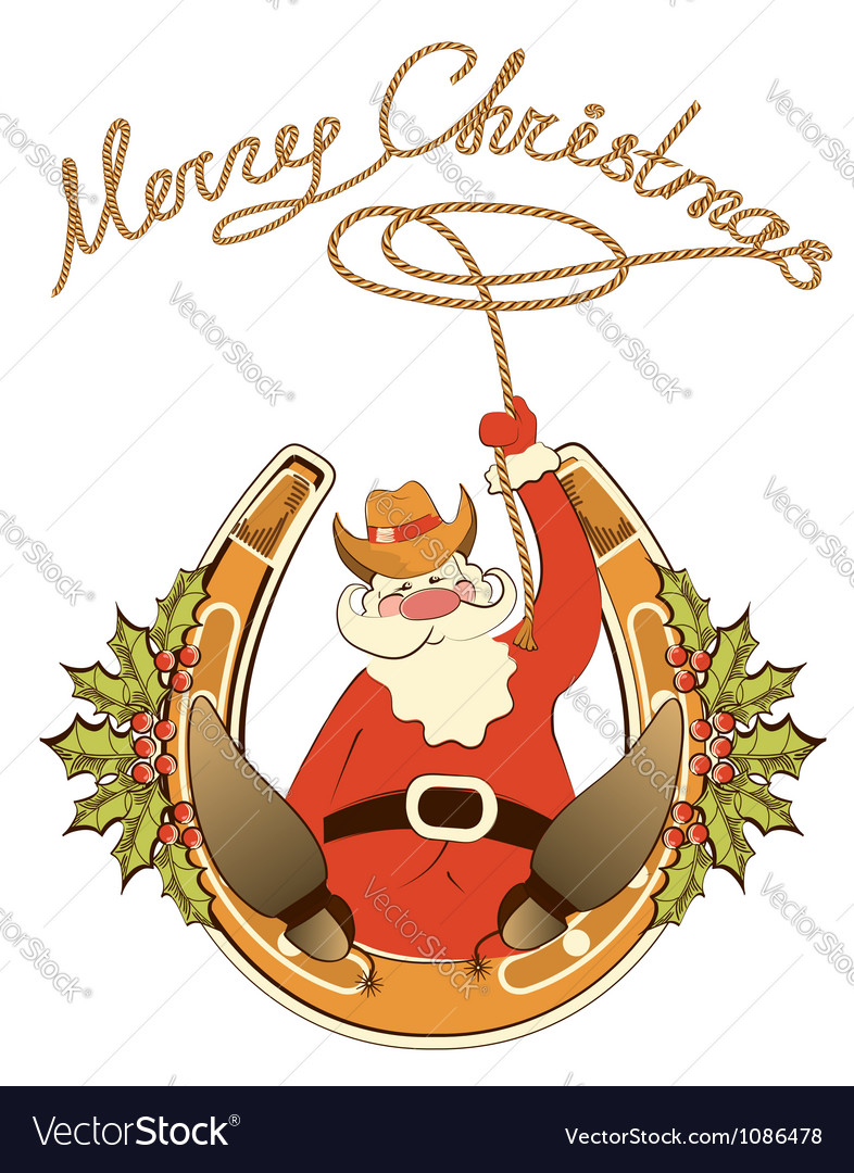 Santa in cowboy shoes and lasso sit on lucky vector
