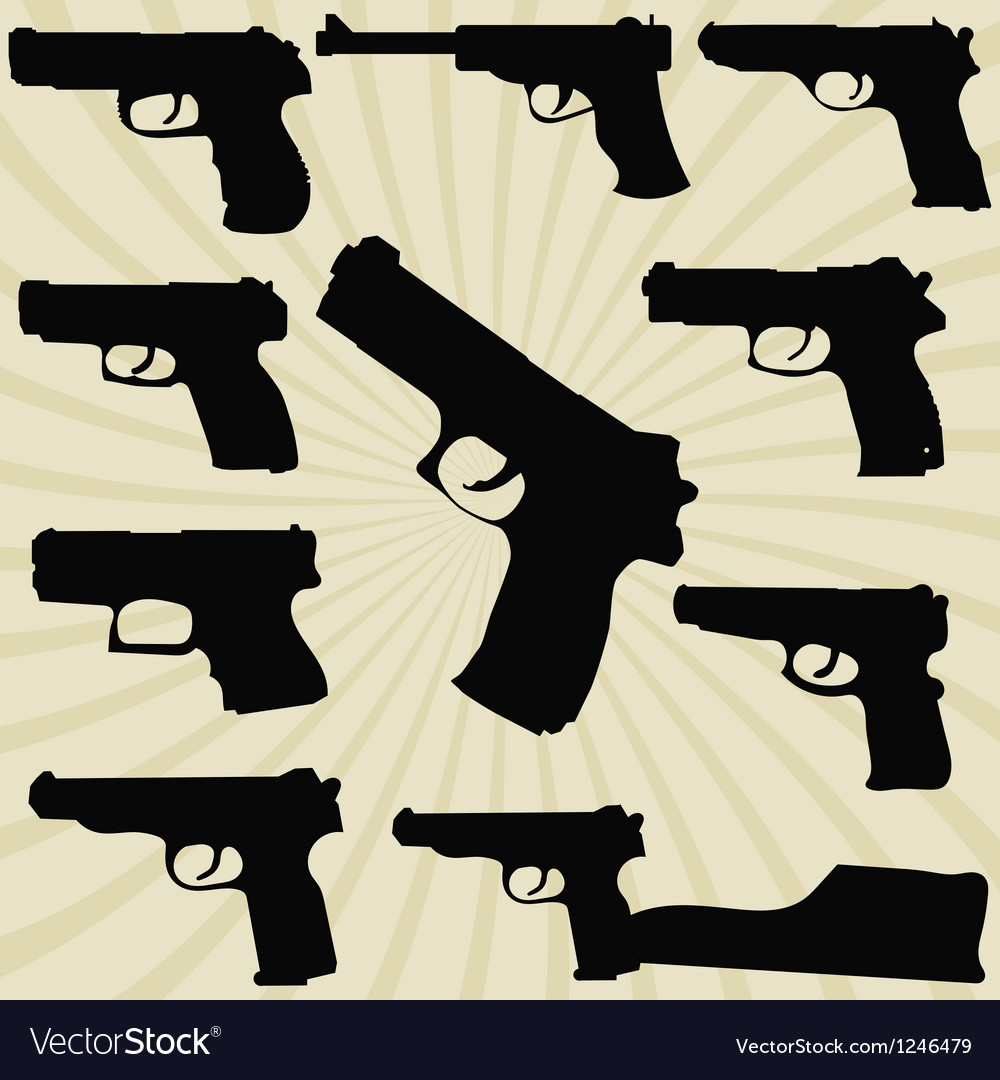 A set of silhouettes of pistols vector