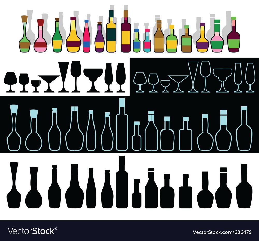 Alcohol assortment vector