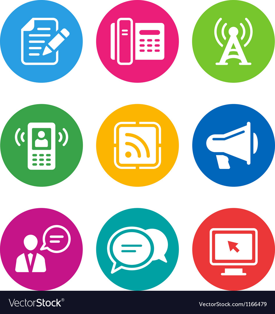 Color communication icons vector