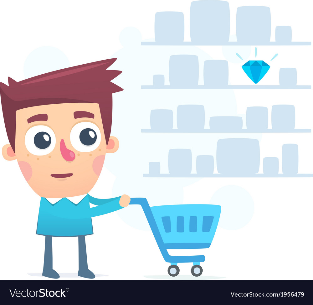 Good choice of shopping in a store vector