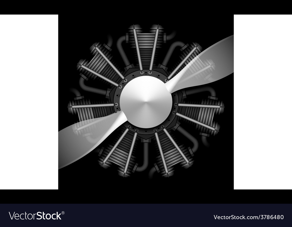Radial airplane engine with propeller vector