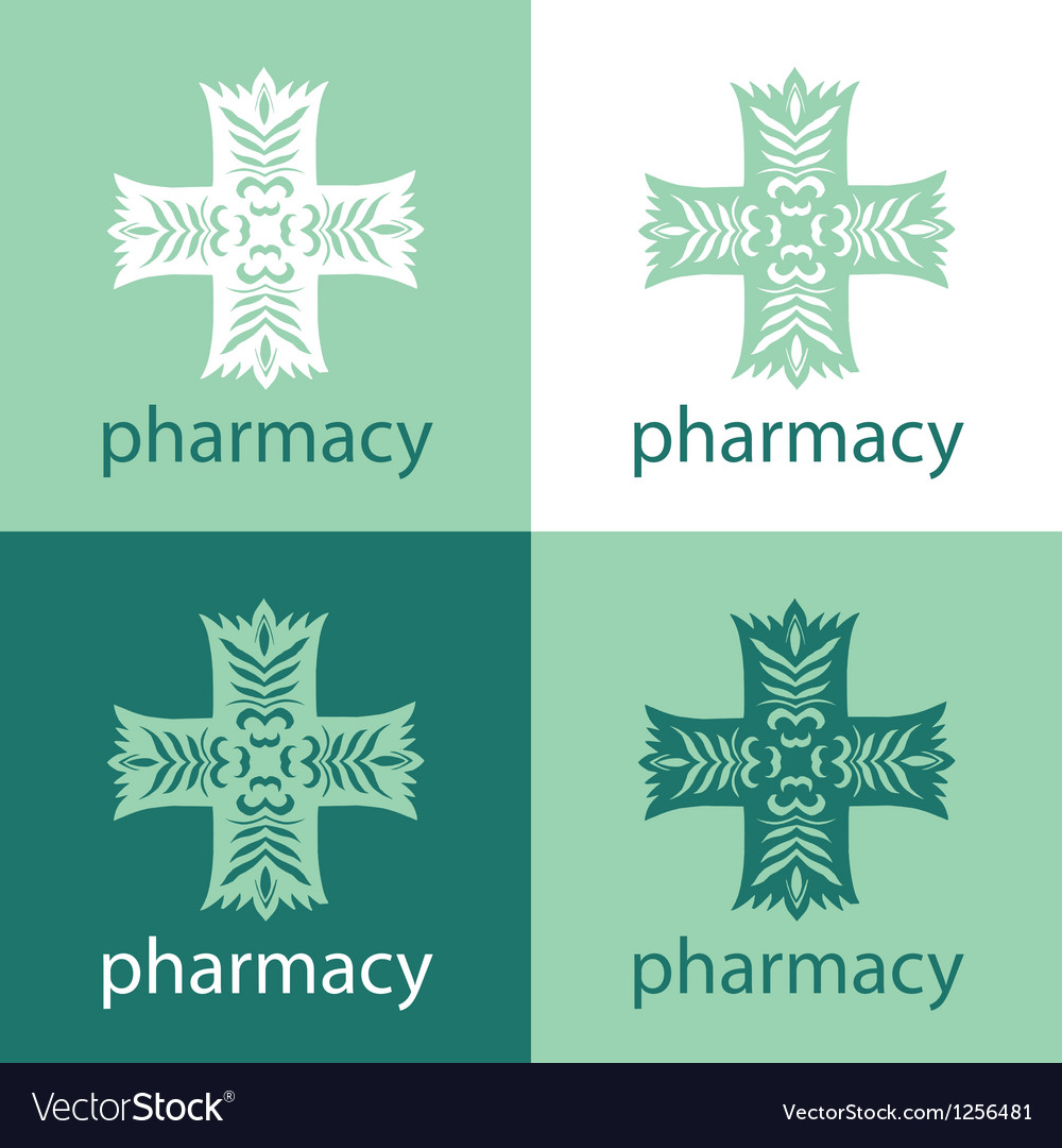 Green medicine logo vector
