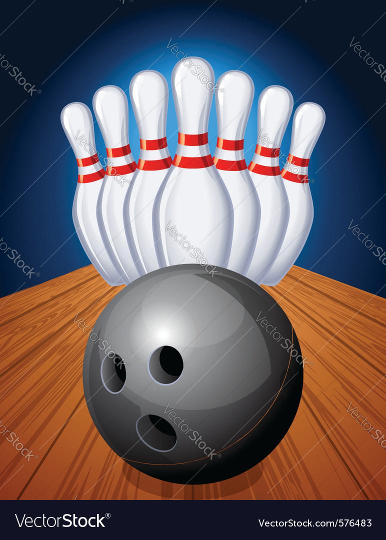 Bowling pins and ball vector