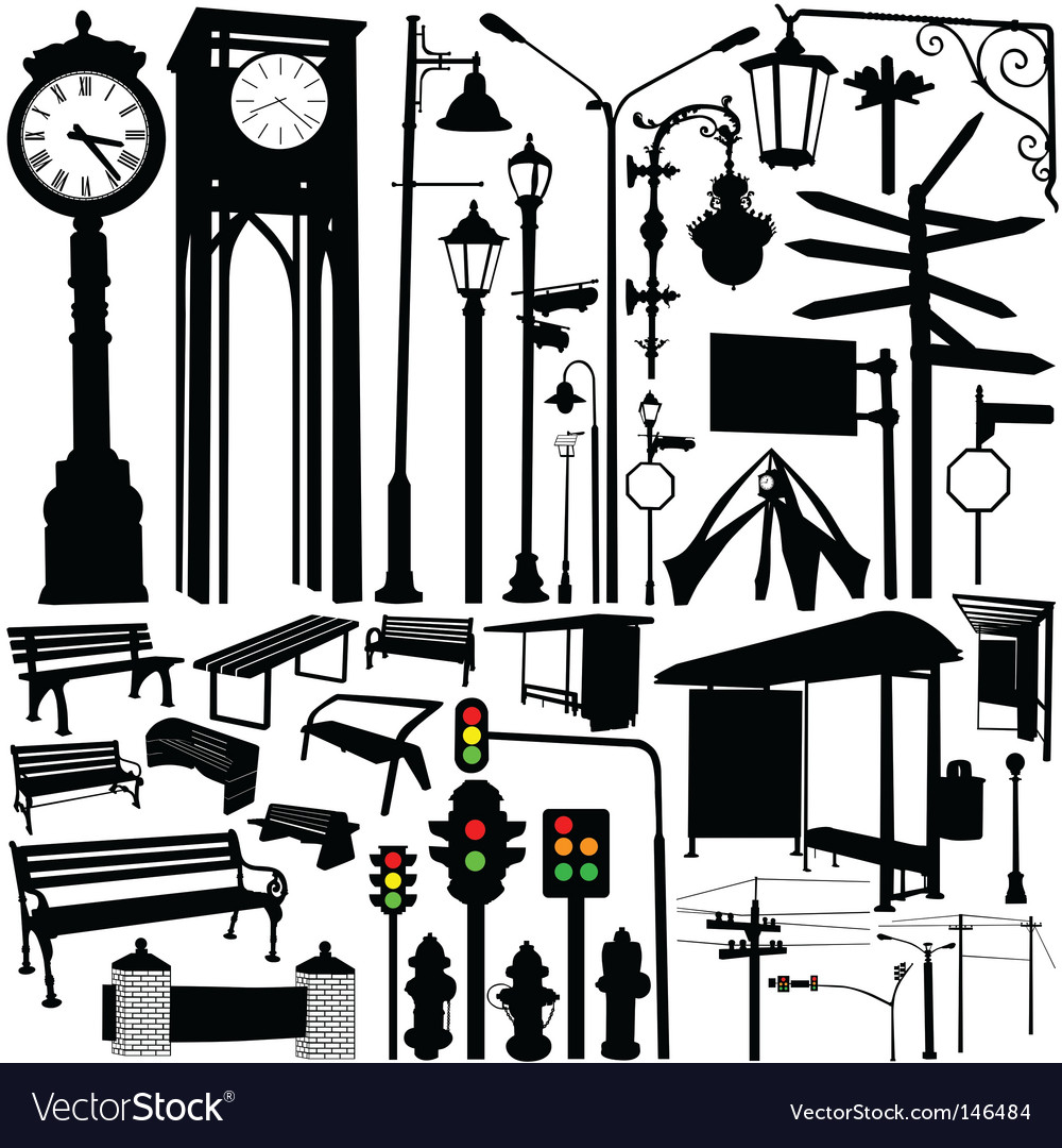 City objects and accessories vector