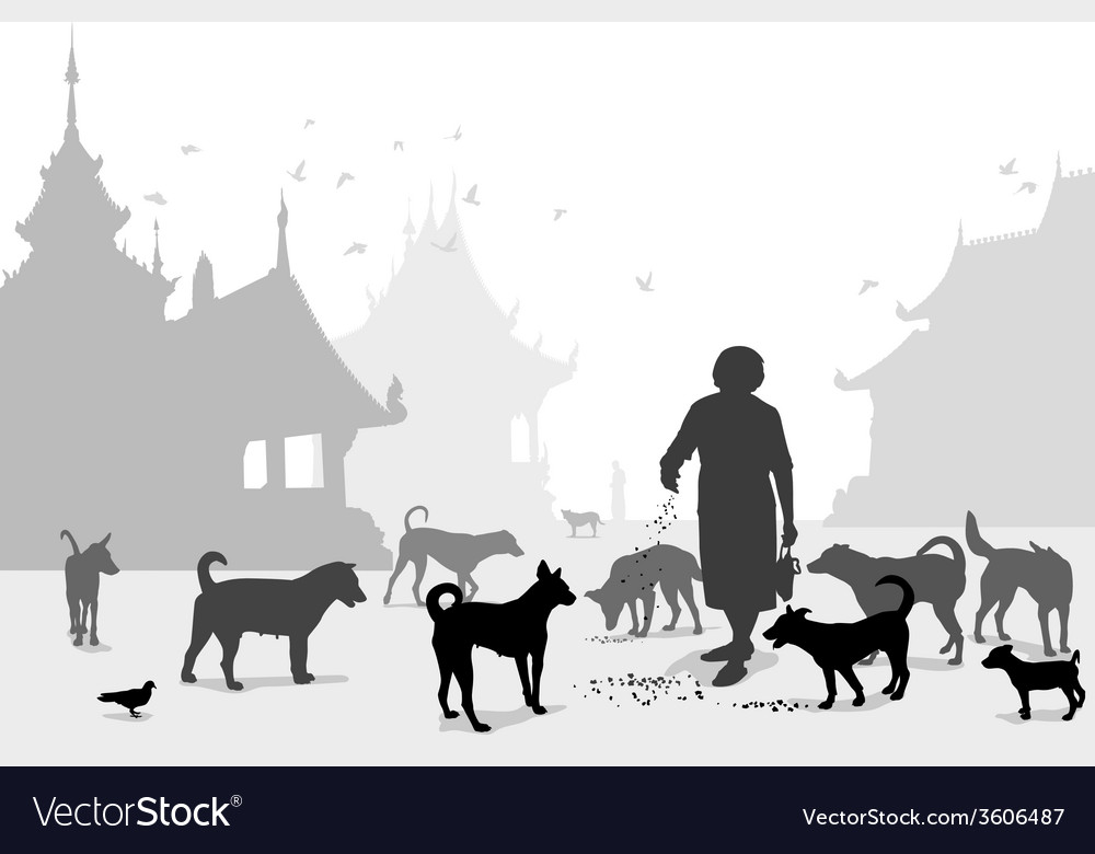 Temple dog carer vector