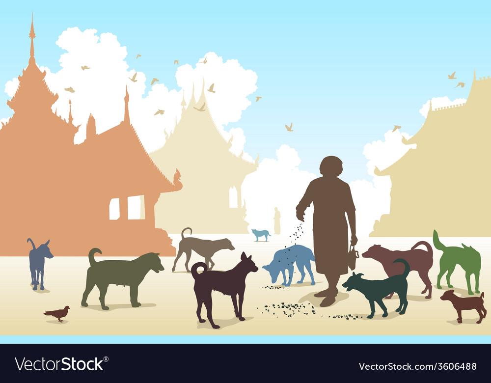 Temple dog woman vector