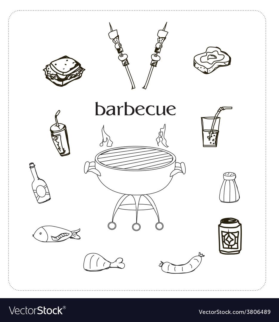 Barbecue icon doodle set vector