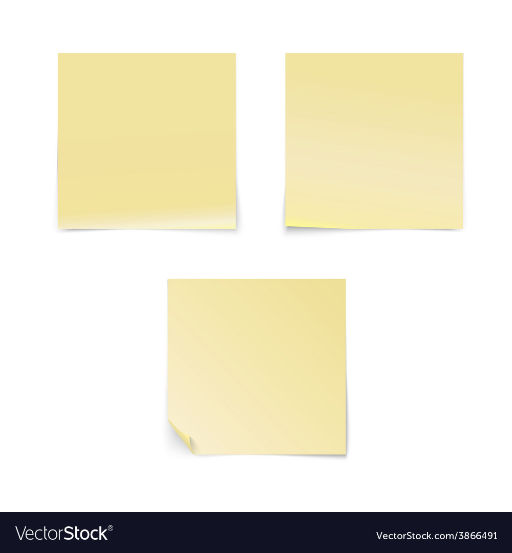 Yellow stick note isolated on white background vector