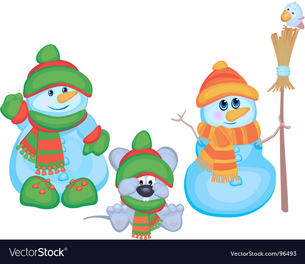 Cartoon snowmen vector