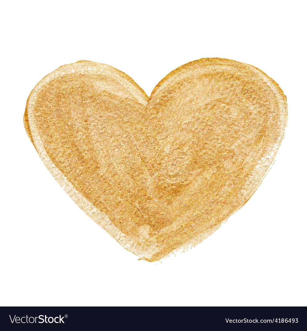 Gold acrylic heart hand drawn vector