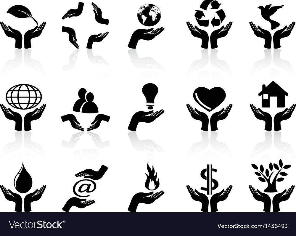 Hands holding icons set vector