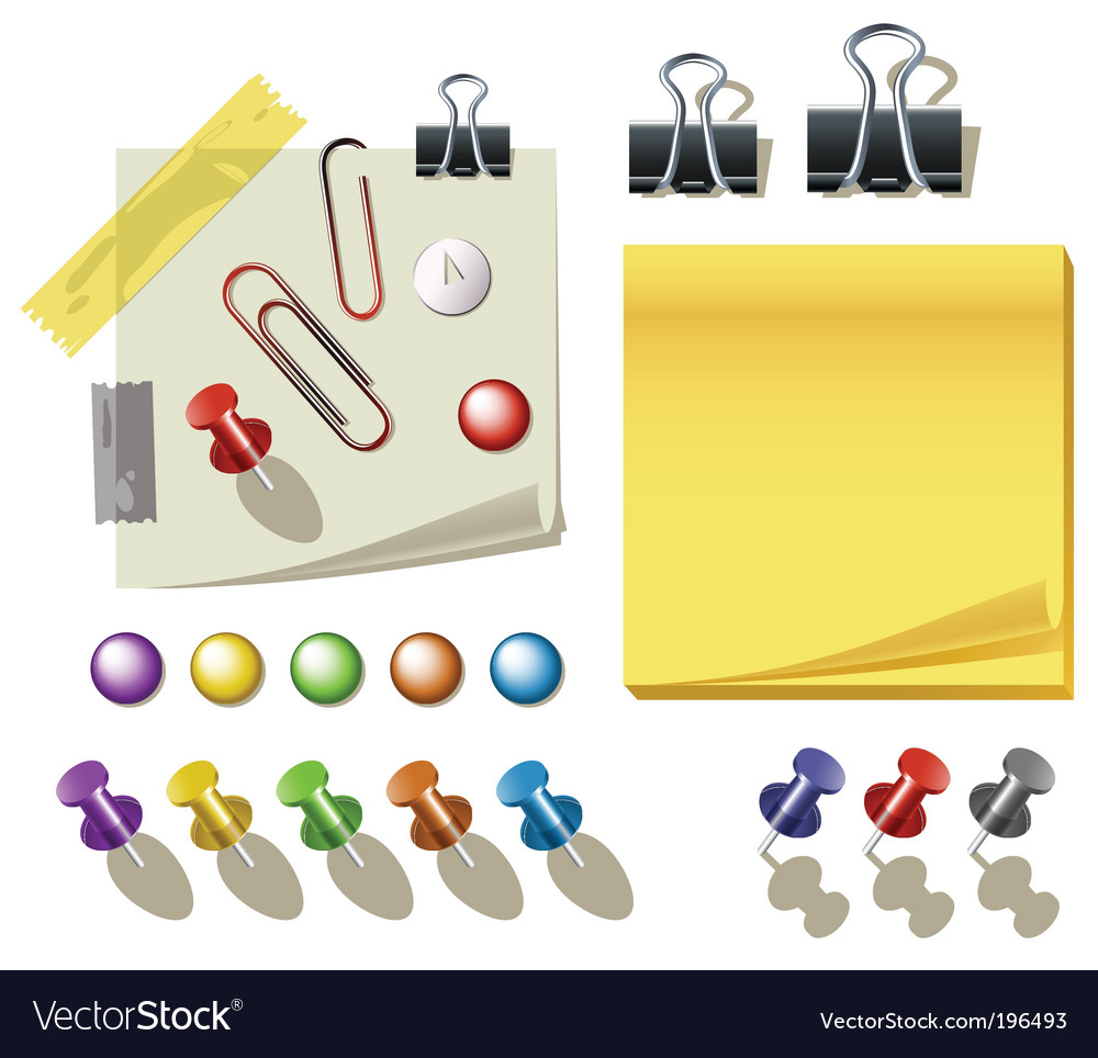 Pin and clips vector