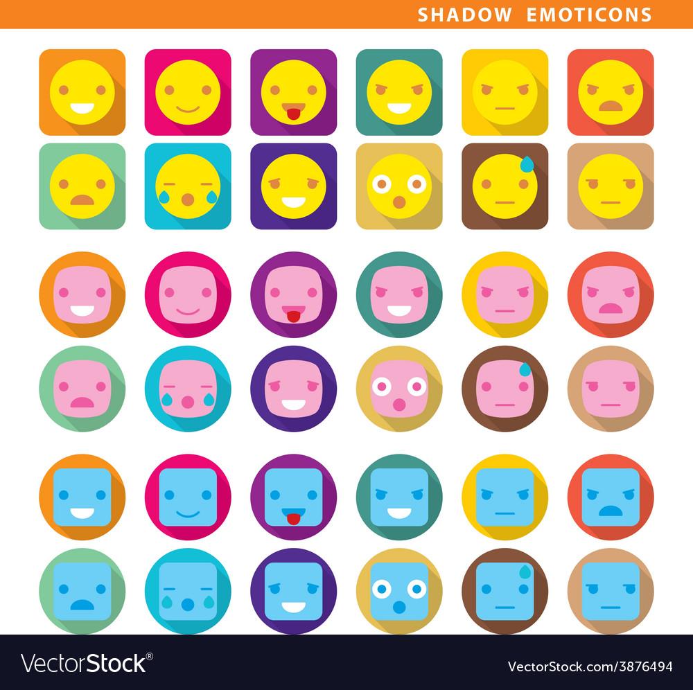Shadow emoticons vector