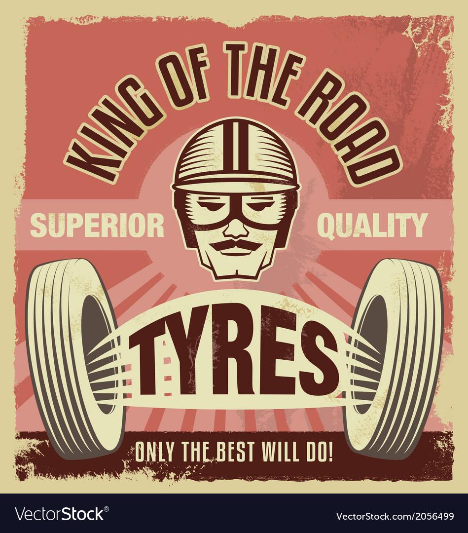 Vintage metal sign - retro garage tin poster vector