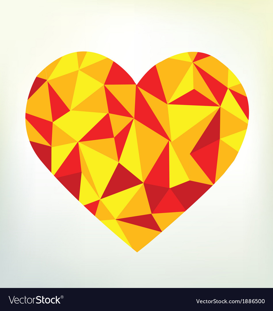 Triangular heart shape vector