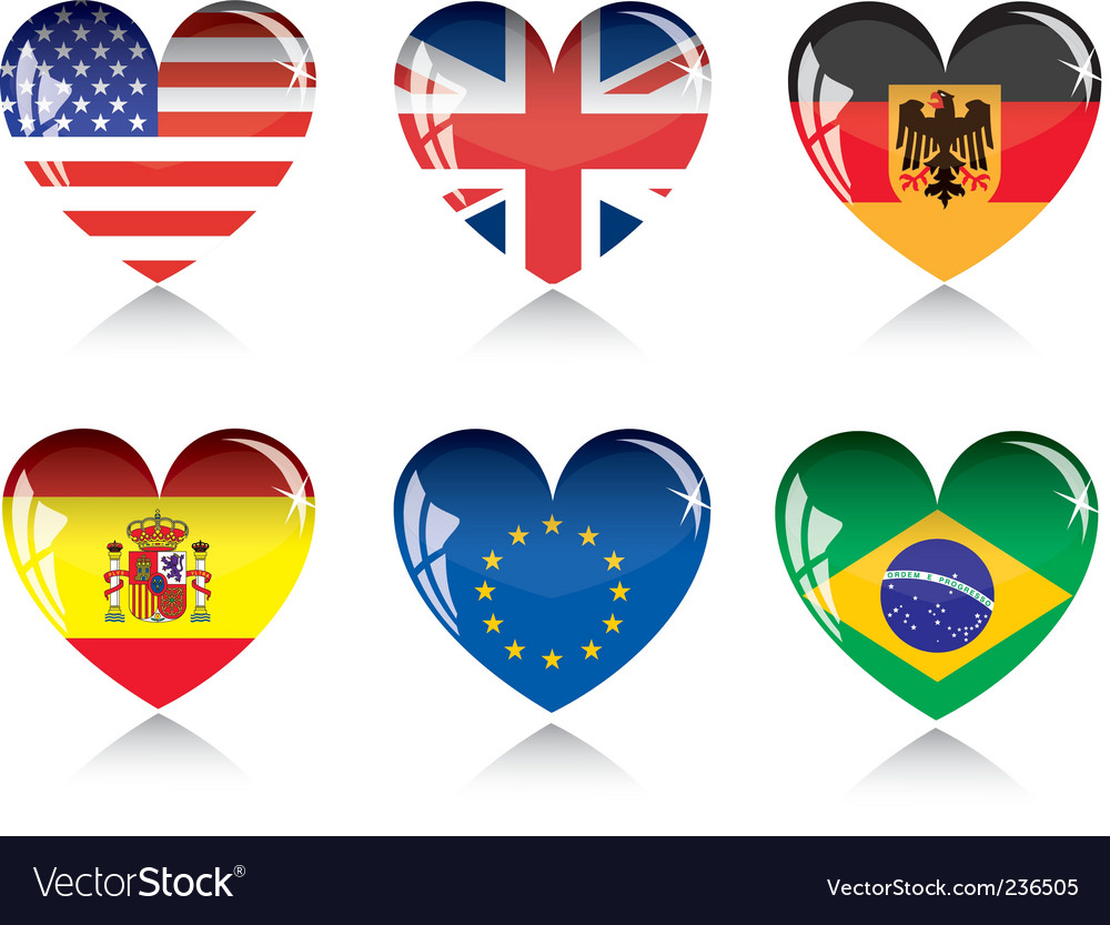 Heart with flags vector