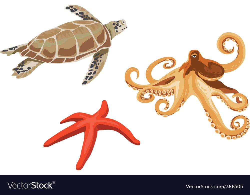 Underwater creatures vector