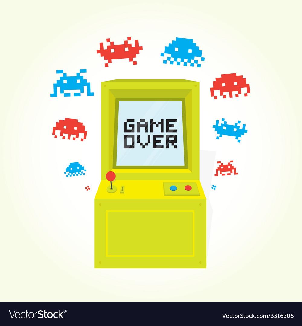 Game over arcade machine vector