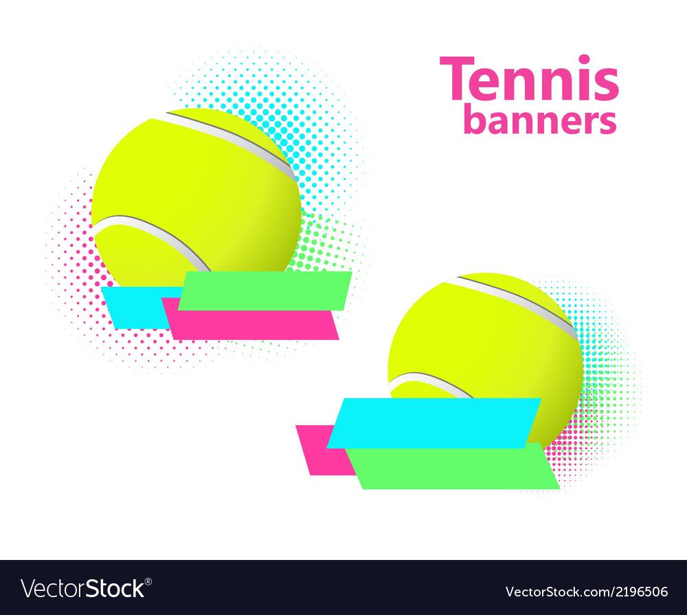 Tennis halftone banners vector
