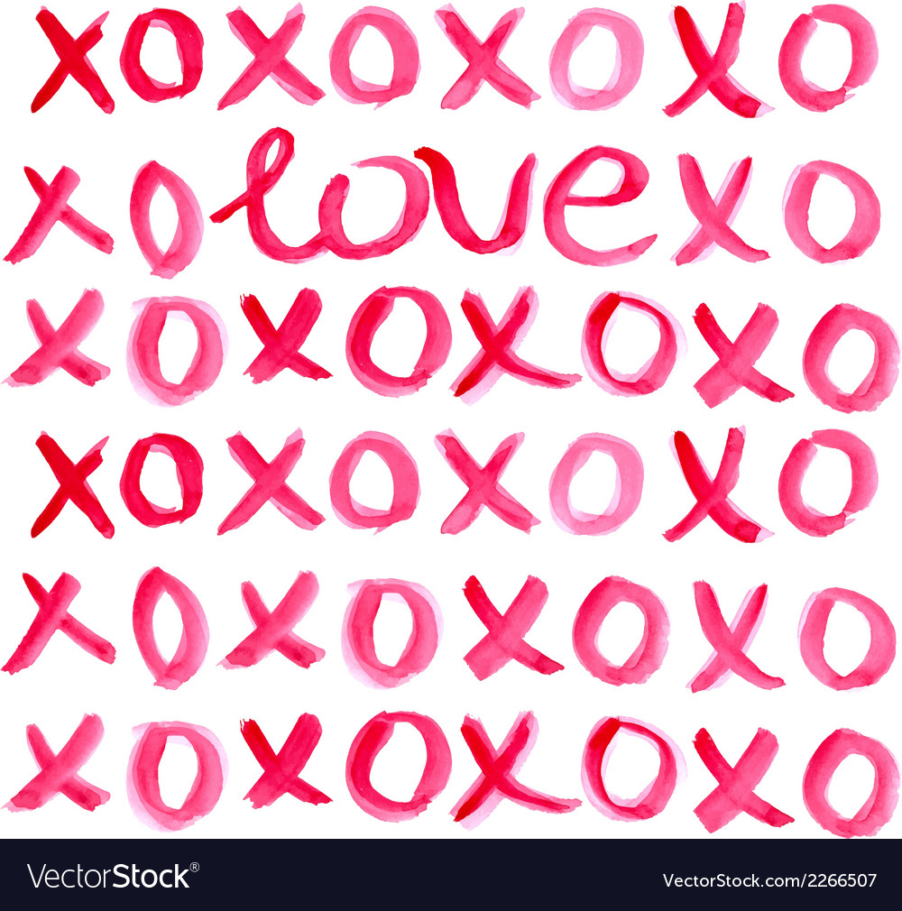 Valentine day heart and watercolor lettering vector