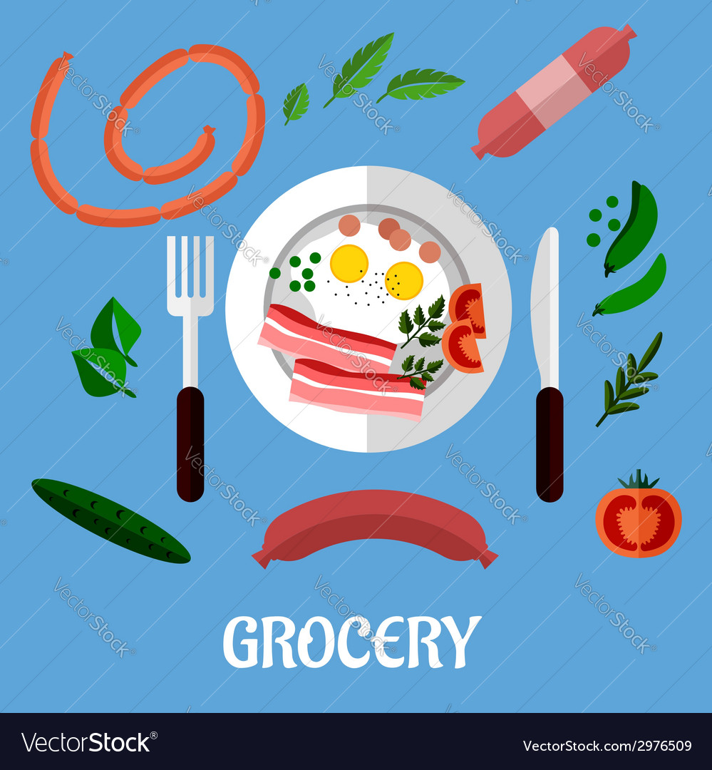 Breakfast with groceries flat design vector