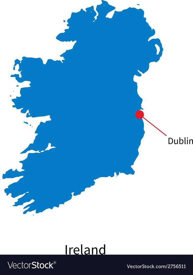 Detailed map of ireland and capital city dublin vector
