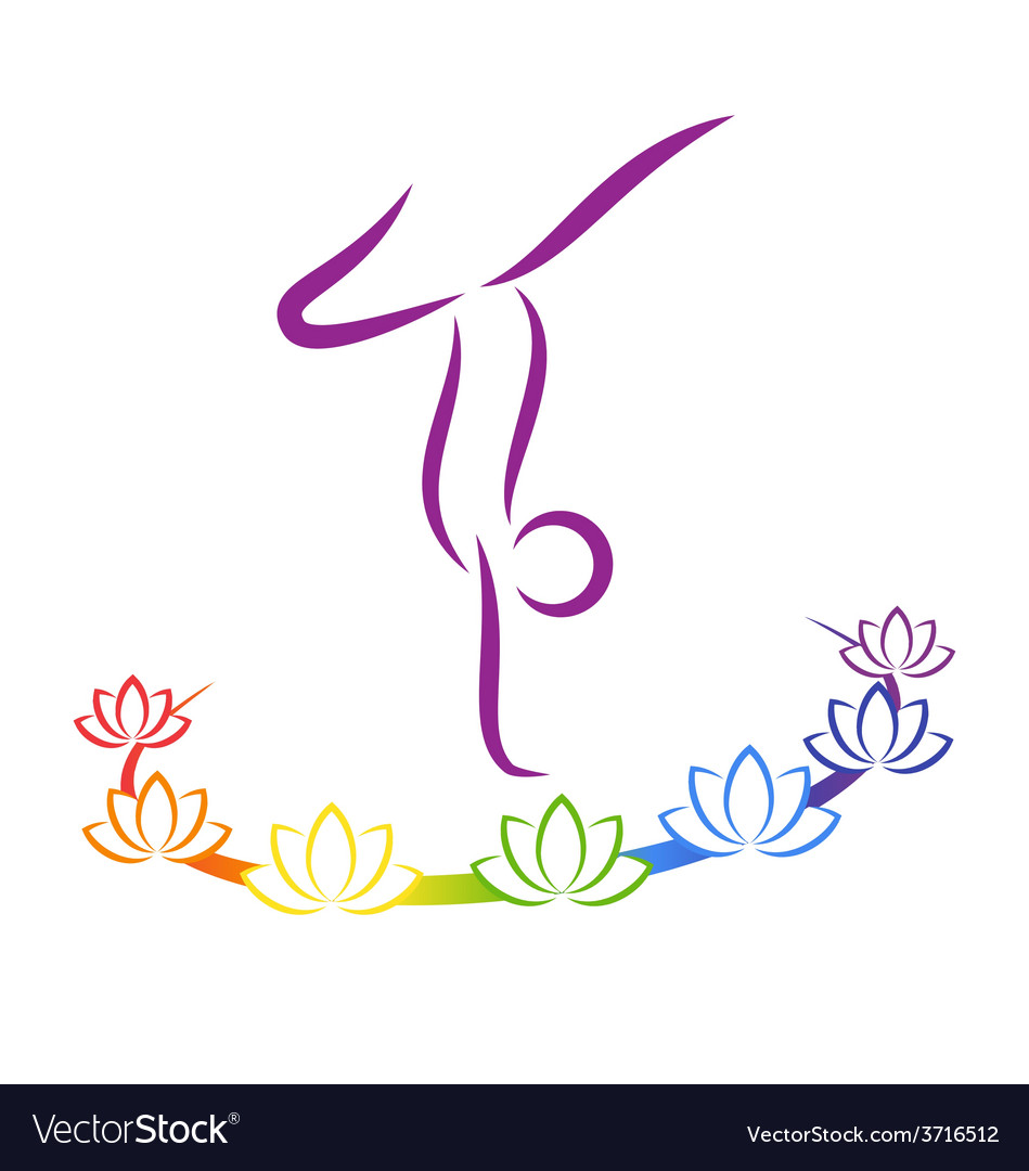 Emblem yoga pose with chakra lotuses on grayscale vector