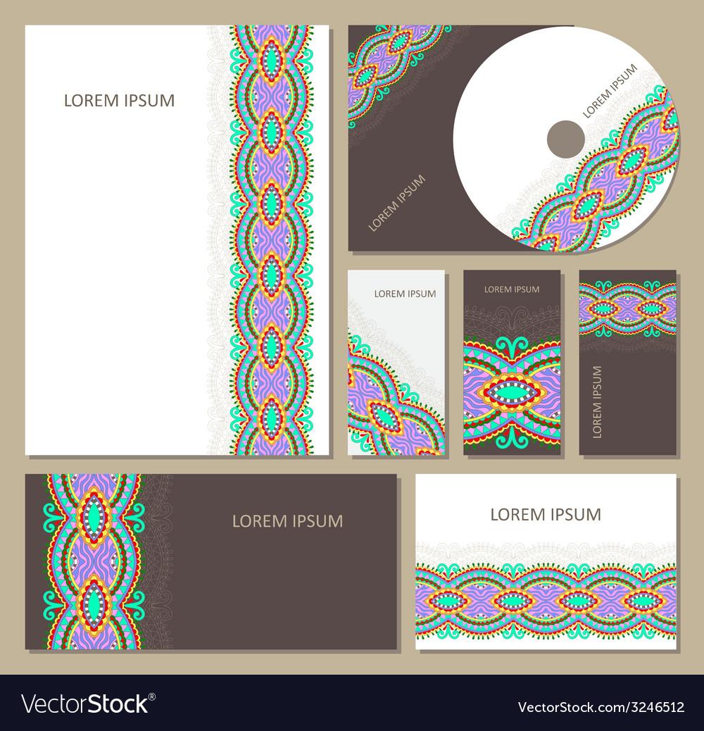 Set of floral decorative background cd design vector