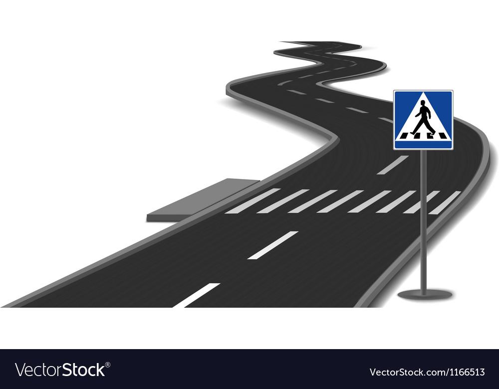 Crosswalk stripes on road vector