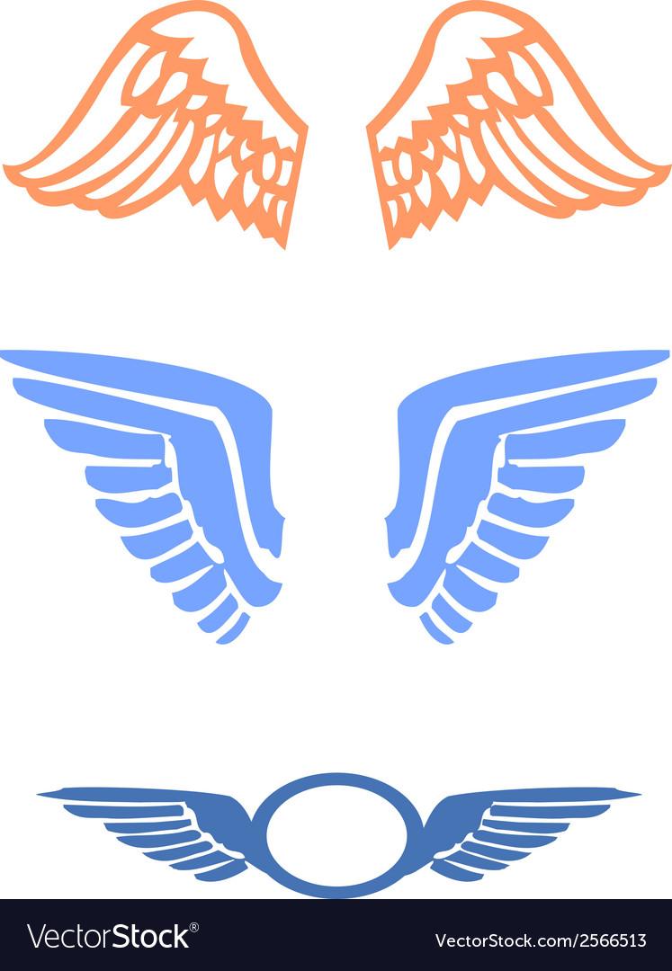 Stylized bird wings vector