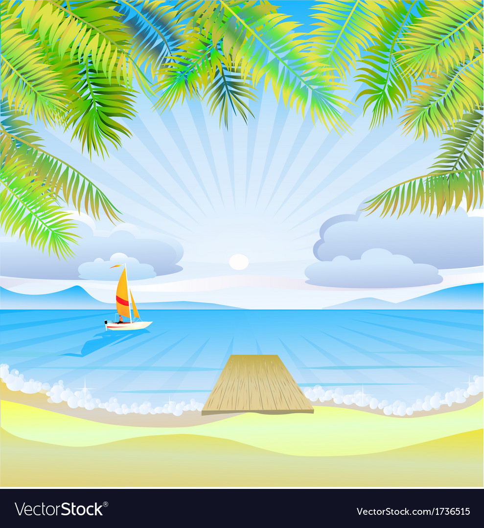 Travel the sea yachts palm trees furlough vector