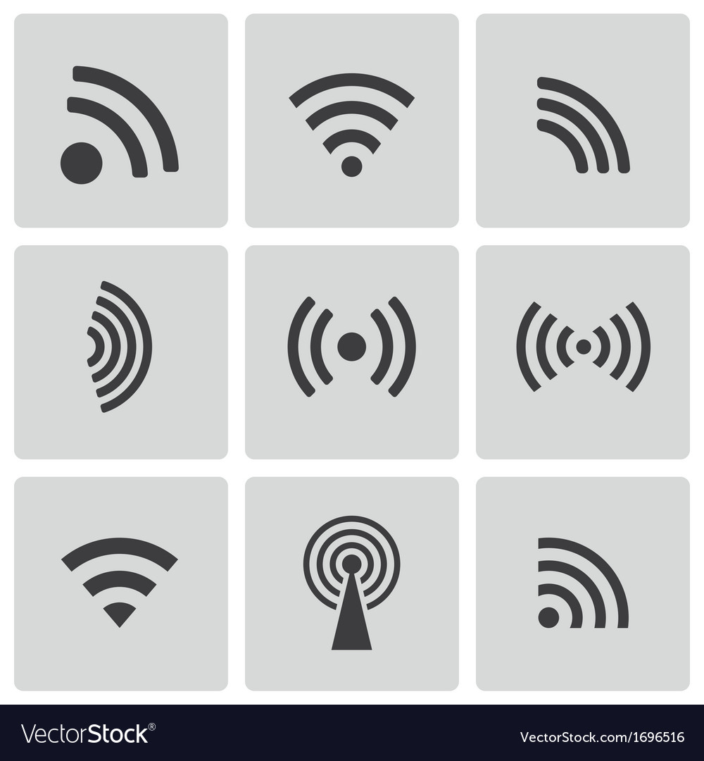 Black wireless icons set vector