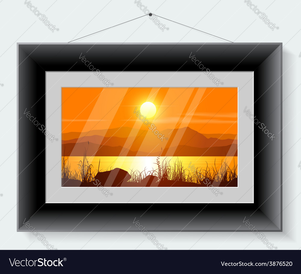Black frame with the picture of landscape vector