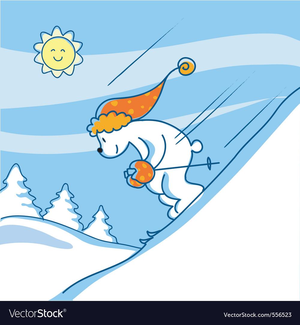 Skiing bear vector
