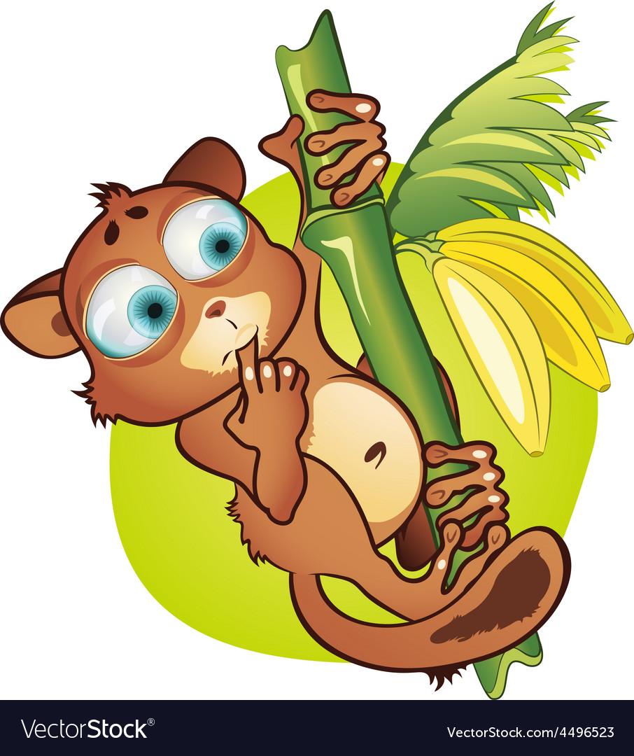 Small mammal and bananas vector