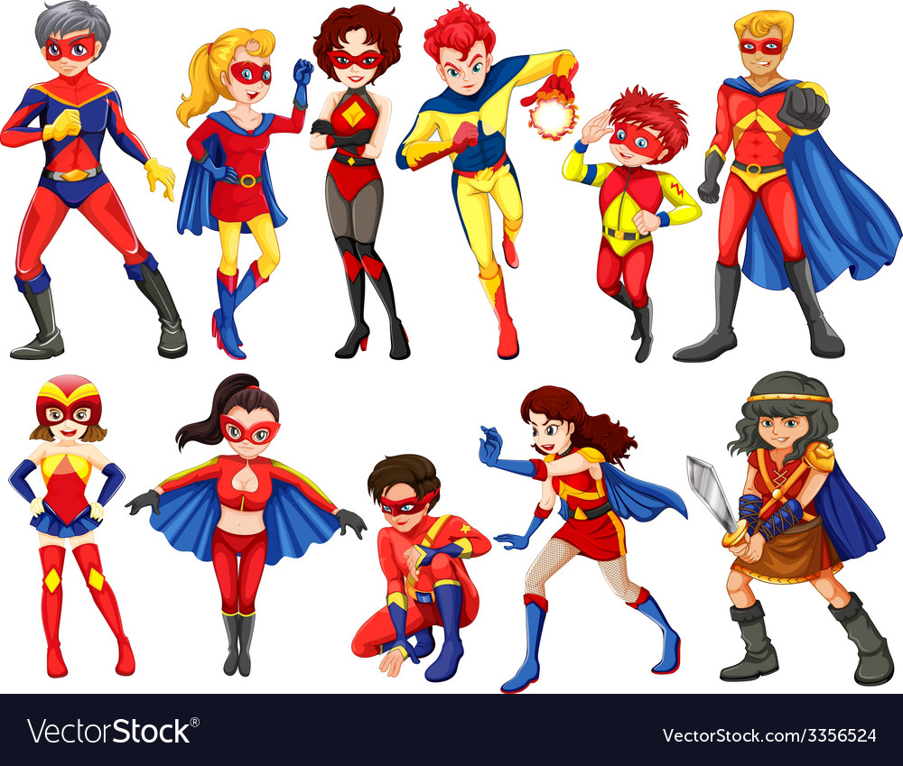A group of heroes vector