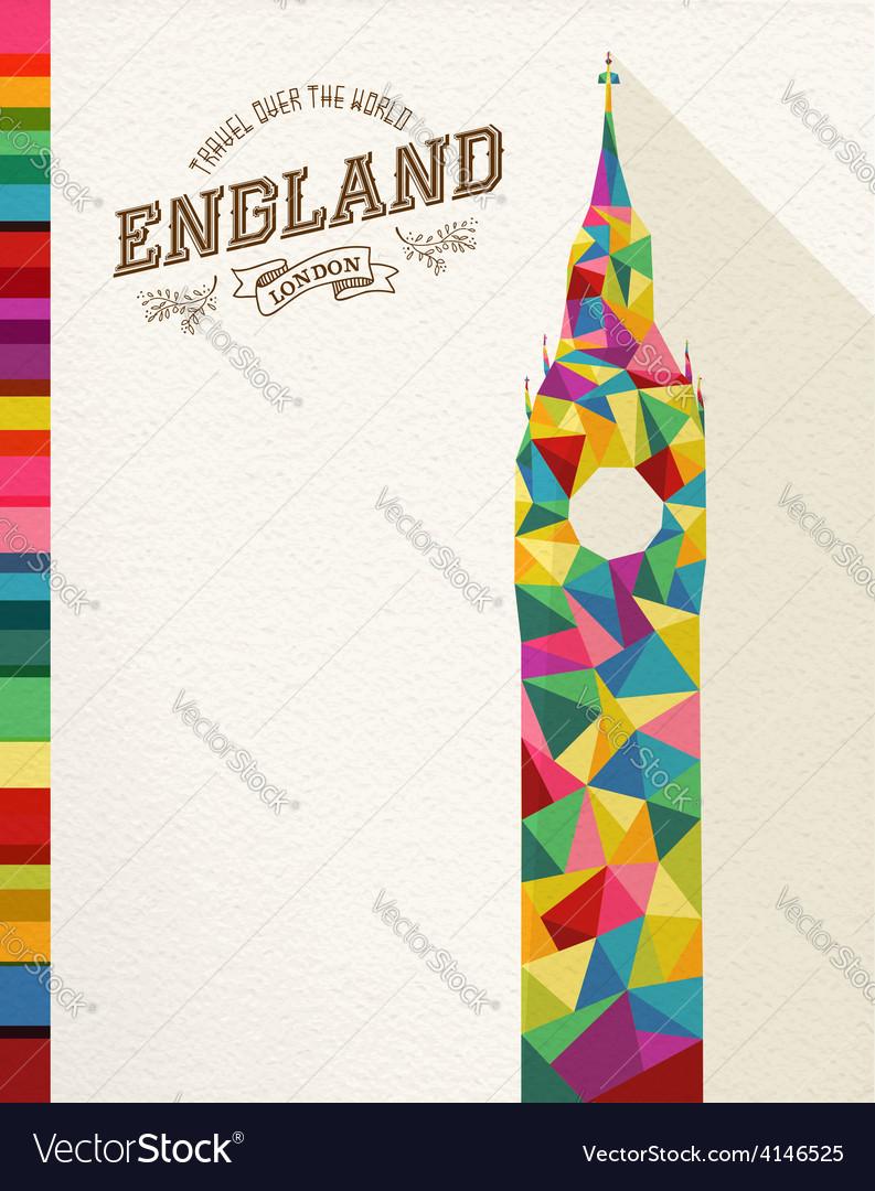 Travel england landmark polygonal monument vector