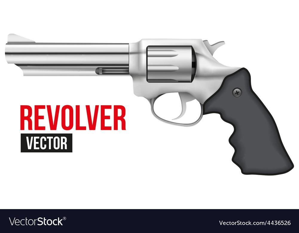 Big revolver silver bright metal vector