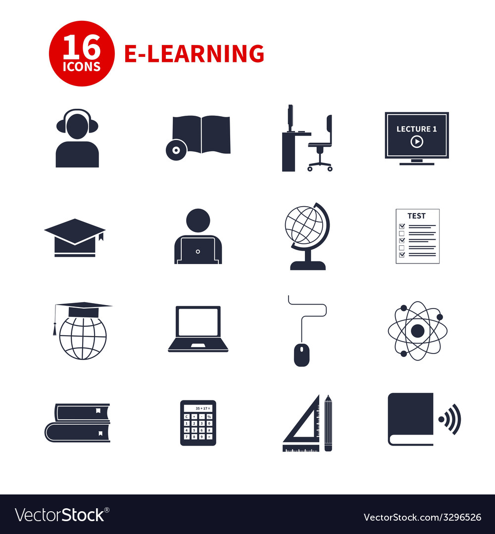 E-learning icons vector
